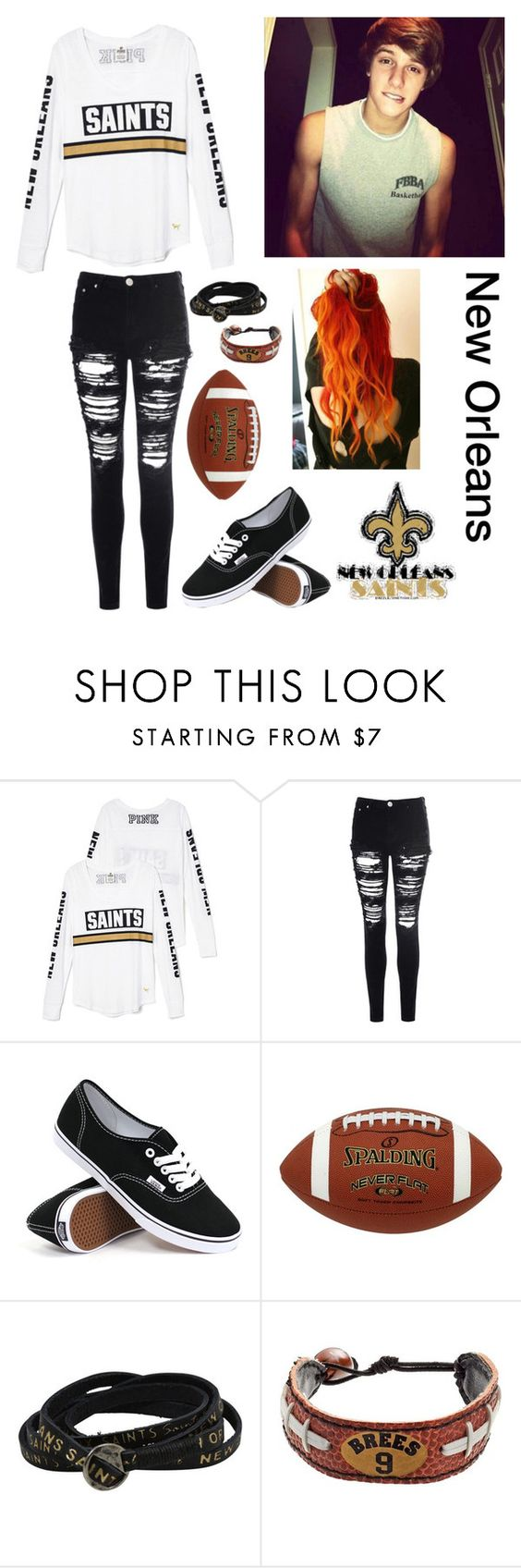 """""""Saints football game"""" by ash-irwin-1994 ❤ liked on Polyvore featuring Glamorous, Vans, Spalding and GameWear"""