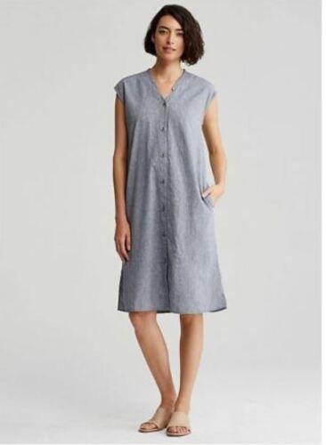 Eileen Fisher Denim Dyed Linen Organic Cotton Mandarin V Neck Dress Xs S Ebay With Images Eileen Fisher Linen Dress Organic Cotton Dress Denim Dress
