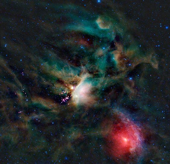 A estrela IRAS 16293-2422 fica na nebulosa escura Rho Ophiuchi, na constelação do Serpentário, vista na imagem com luz infravermelha por outro telescópio, o Wise, da Nasa (Foto: NASA/JPL-Caltech/WISE Team )