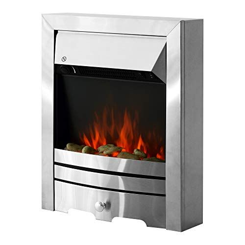 Homcom 2kw Stainless Steel Electric Fireplace Pebble Burning Effect Heater Fire Flame Indoor Freestanding Electric Fire Electric Fireplace Inset Electric Fires