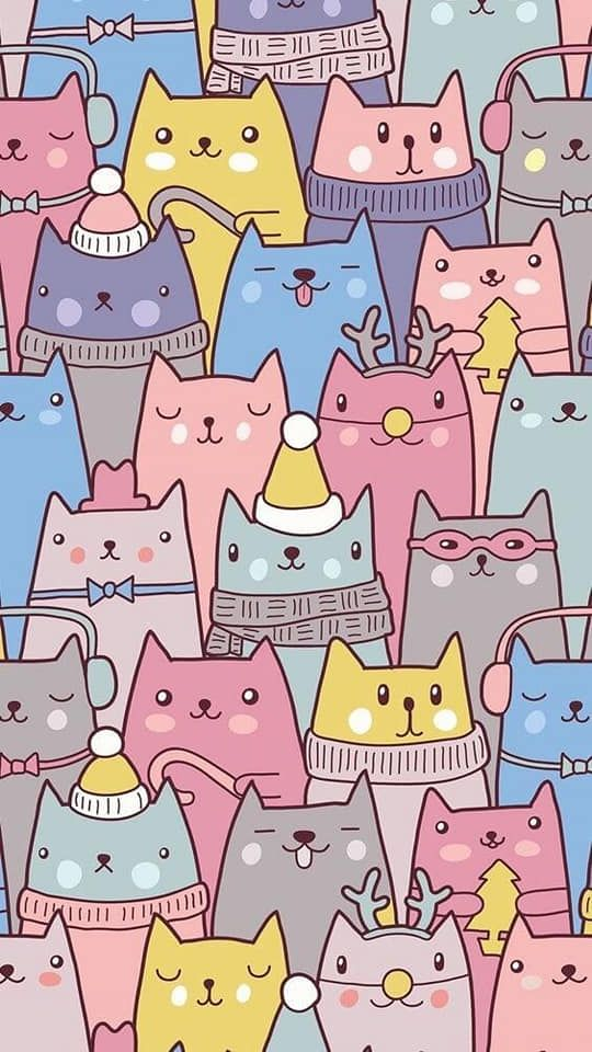 The Highest Quality Kawai Wallpapers For Your Iphone Cat Pattern Wallpaper Cute Cartoon Wallpapers Cartoon Wallpaper Cute cat cartoon wallpaper