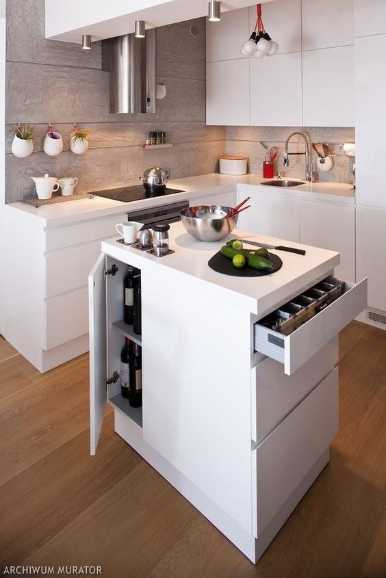Stackable uppers and island storage are perfect for small for Perfect kitchen layout with island