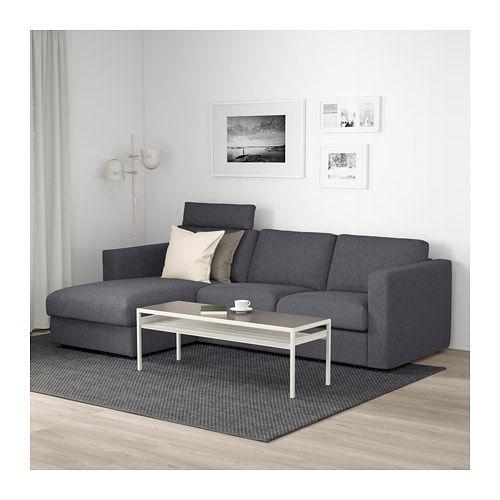 Headrestgunnared Medium Vimle With Chaise Sofa Gray Ikea HD92IE