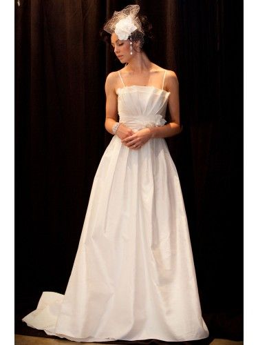 Spaghetti Straps Scalloped Neckline A-line Wedding Dress