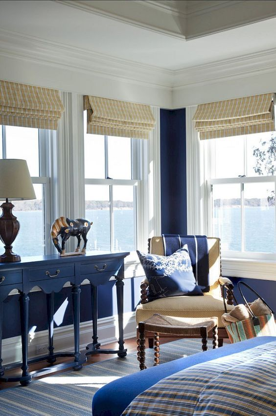 Coastal Living Room Navy Blue White Tan Custom Roman Shades