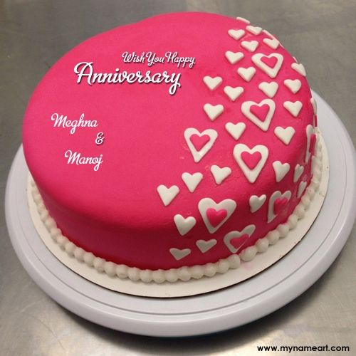 Meghna Manoj Name Image Of Red Anniversary Cakes With Couple