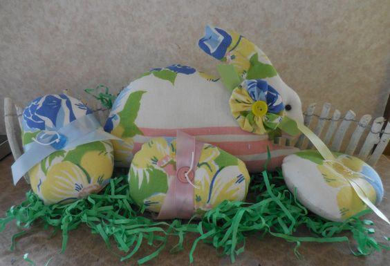 Primitive Easter Bunny Rabbit & Easter Egg Set Pillow Tucks Vintage Tablecloth Springtime by auntiemeowsprims on Etsy