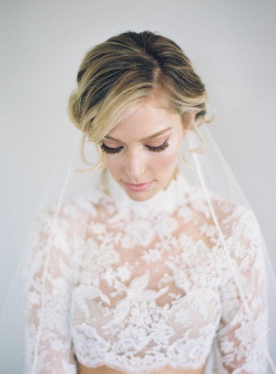 Ivory Soutache Edge Bridal Veil Ribbon Edge by VeiledBeauty