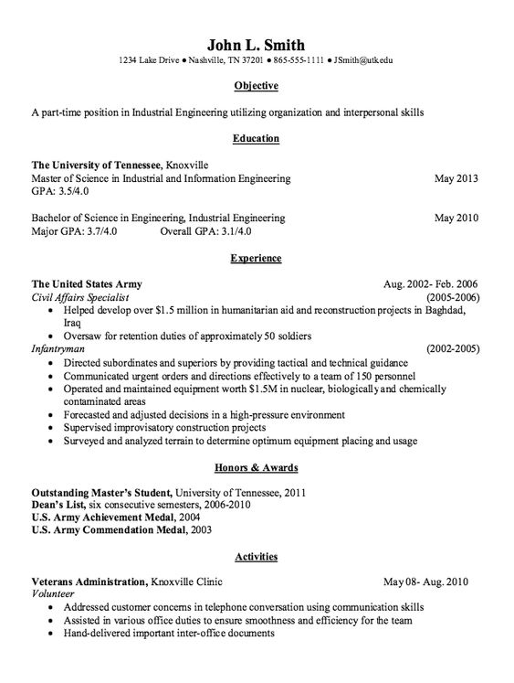 Industrial Engineering Resume Example -    resumesdesign - part time resume example