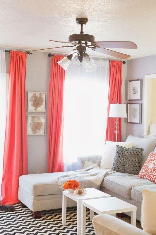 Sheets For Drapes Pop Of Coral Living Room Home Decor And Interior Decorating Ideas Home Decor Home Home Living Room