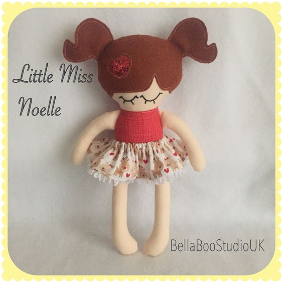 """Little 11"""" doll, Christmas colours and reindeer skirt!! Made by BellaBooStudioUK"""