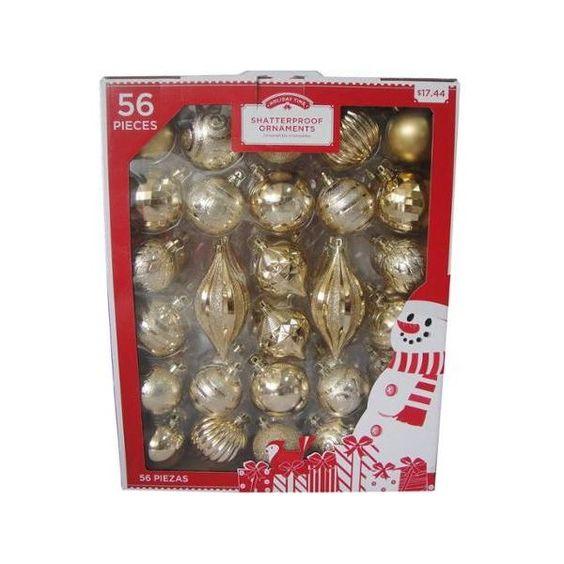 Holiday time metallic gold shatterproof christmas ornament set set of