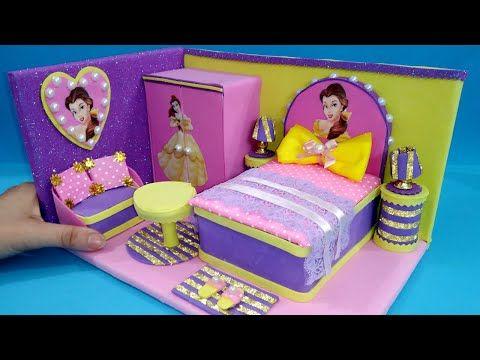 منزل مصغر بالكرتون وورق الفوم 1 غرفه نوم لأميرة ديزني Diy Miniature Dollhous For A Disney Princess Youtube Toddler Bed Disney Princess The Creator