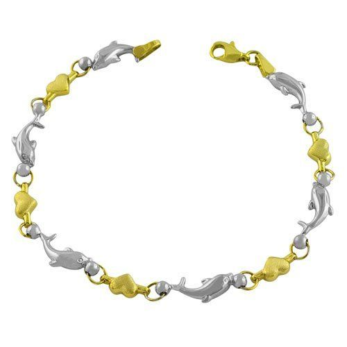 10 Karat Two-Tone Gold 7 inch Heart And Dolphin Bracelet Kooljewelry. $172.99. Comes with a comfortable lobster claw clasp closure. Weighs 3.4 gram(s). Crafted in 10 karat gold. Put together a sophisticated look with this unique 10 karat gold bracelet. Save 60%!