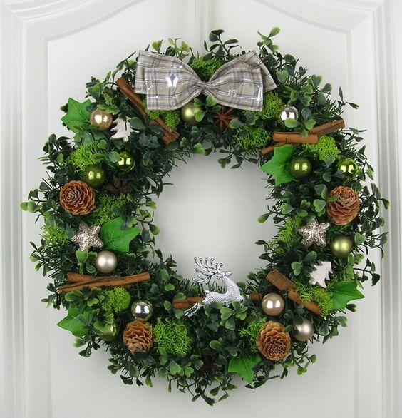 Weihnachtskranz Türkranz Weihnachten Adventskranz  Silber Gold von My Home Fashion auf DaWanda.com