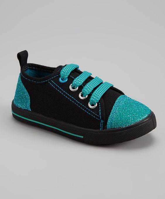 Black & Turquoise Glitter Slip-On Sneaker