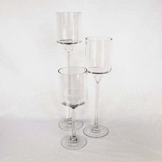 long stem glass candle holdersset of 320 glass candle places and glass candle holders. Black Bedroom Furniture Sets. Home Design Ideas