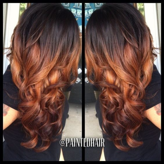 Highlights For Black Hair My Hair Copper And Copper Ombre Hair Hair Highlights Honey Blonde Hair