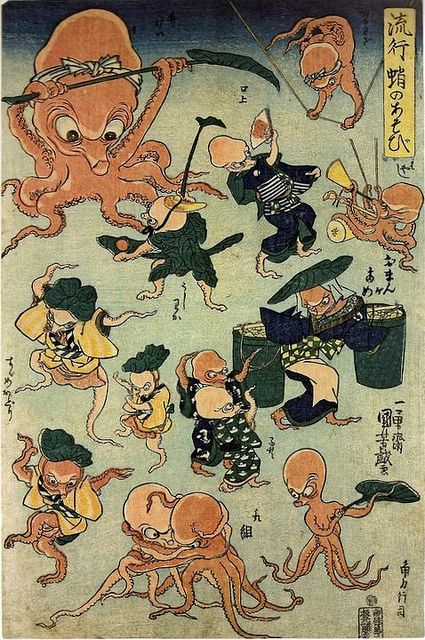 Utagawa Kuniyoshi - Ryuko tako no asobi  (Fashionable Octopus Games) Date:1840-1842 Source: British Museum - ukiyoe