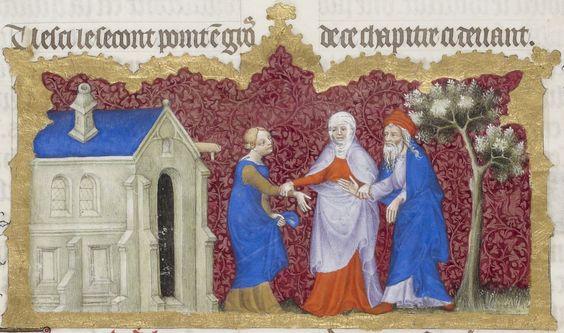 Sata donnant Agar à Abraham  Bible traduite en français par Jean de Sy Auteur : Jean de Sy. Traducteur Date d'édition : 1400-1500