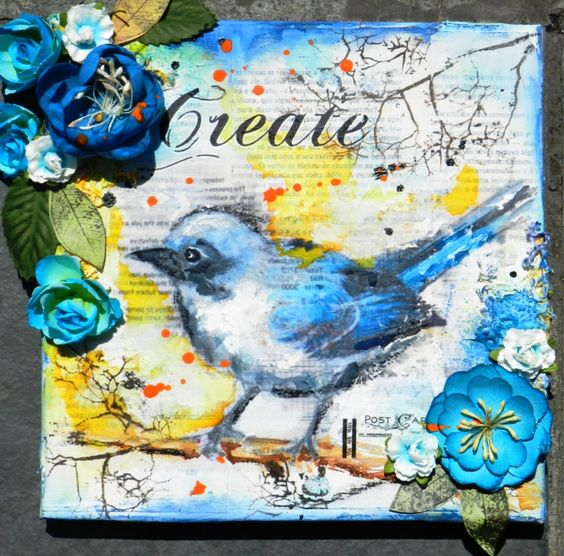 Mixed Media Canvas -tutorial - Scrapbook.com   I'm really feeling these blues and yellows.: