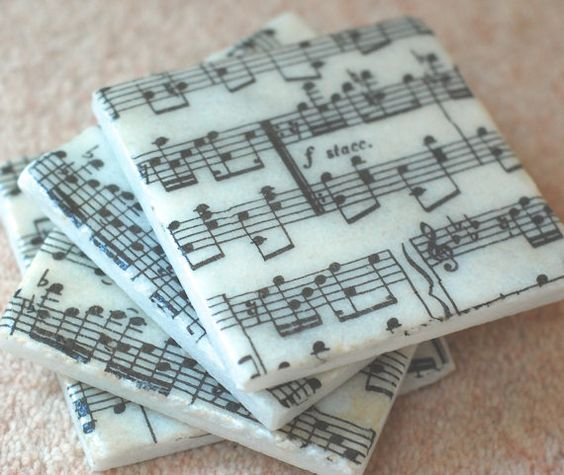 "Set of 4 beautiful "" MUSIC SHEET "" marble tile coasters £14"