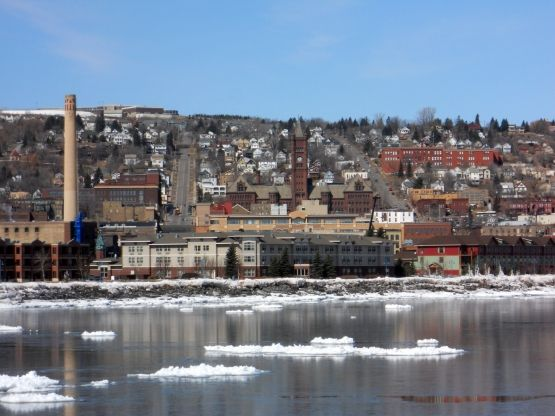 View Of Duluth Hillside From Canal Park Lighthouse Duluth Mn