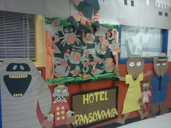 Hotel transylvania and hotels on pinterest for Hotel door decor