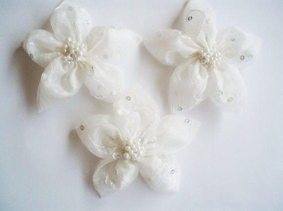 Weiß Chiffon mit Pailletten Blumen handgemacht von BizimSupplies