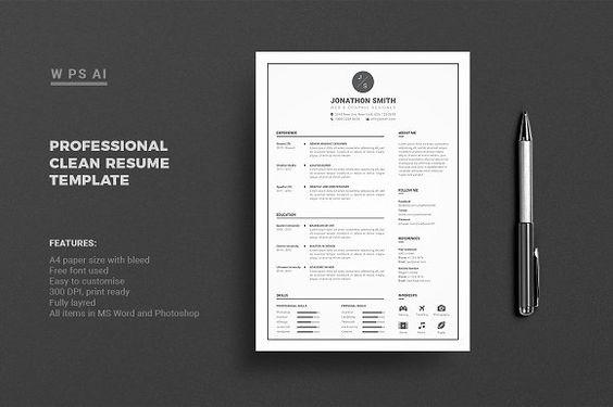 Resume Cv Clean Resume Template Resume Design Template Resume Template