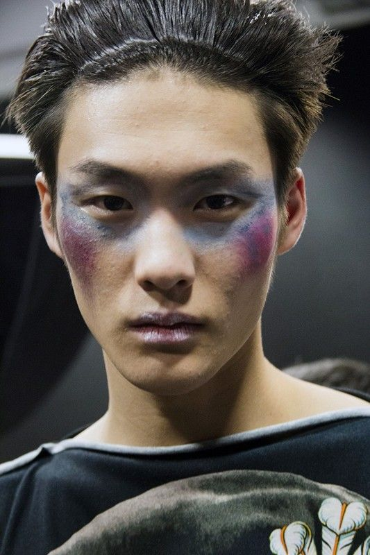 Bruise make up backstage at Vivienne Westwood AW15 Milan. See more here: http://www.dazeddigital.com/fashion/article/23240/1/vivienne-westwood-aw15-livestream