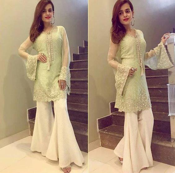 Pakistani Indian Gharara Bell Bottom Stylish Party Wear Wedding Wear