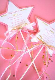 star wand invitations for a princess party.