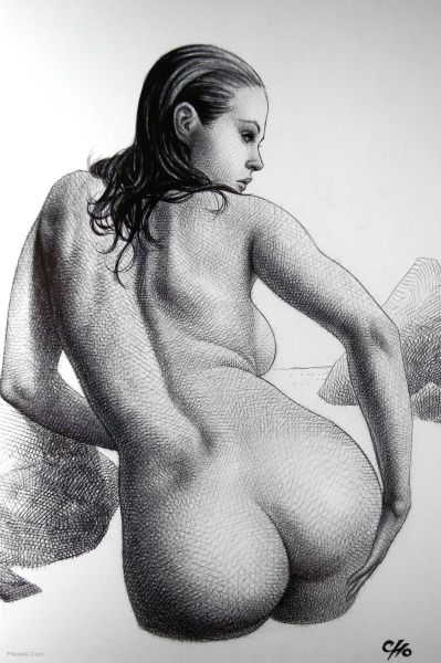Tide Pool  The Ballpoint Pen Art of Frank Cho ~  from Drawing Beautiful Women: The Frank Cho Method: Flesk: 2014.