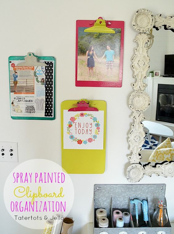 DIY Office Organization Idea: DIY Spray Painted Clip Boards using @Kirstie Rylon spray paint! -- Tatertotsandjello.com #DIY #organization