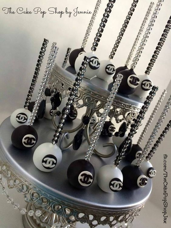Chanel cake pops with bling sticks. Inspired by Bella's Bakery