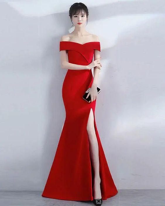 Vestido de formatura sereia vermelho básico