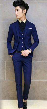 2014 Korean Tuxedo Plaid Men Suit Slim Fit Mens Suits With Pants