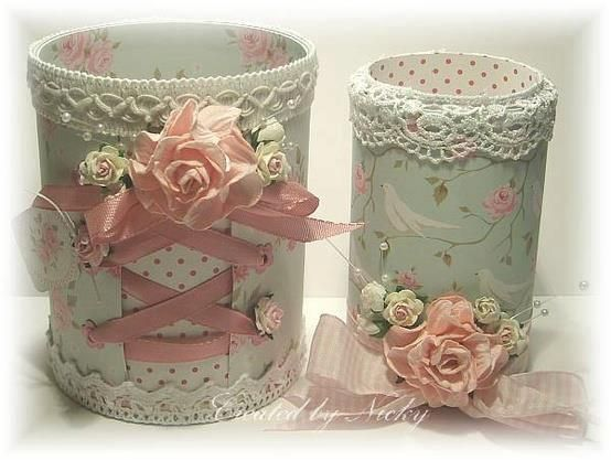 Tin cans and scrapbook paper, eyelets and ribbon: