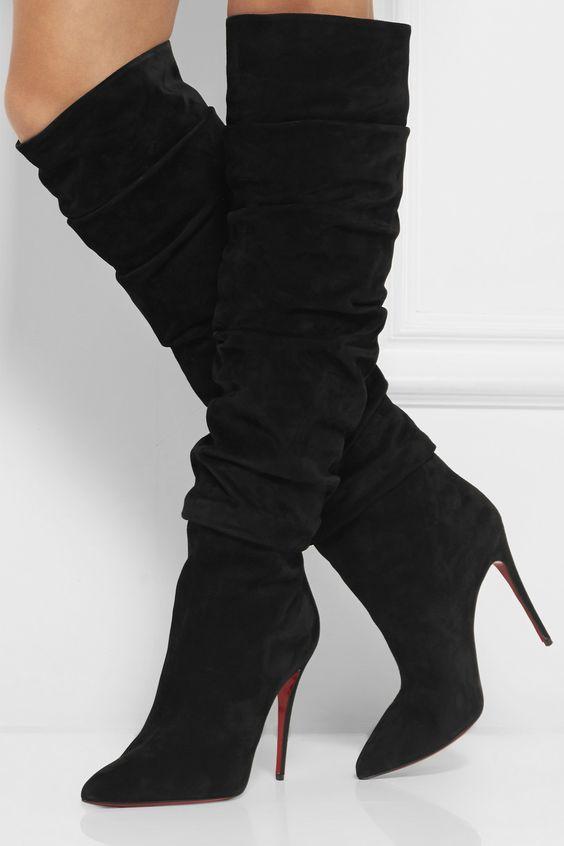 Christian Louboutin'Ishtar' Kneehigh Black Suede Boots €1,595 Fall 2014 #CL #Louboutins #Heels: