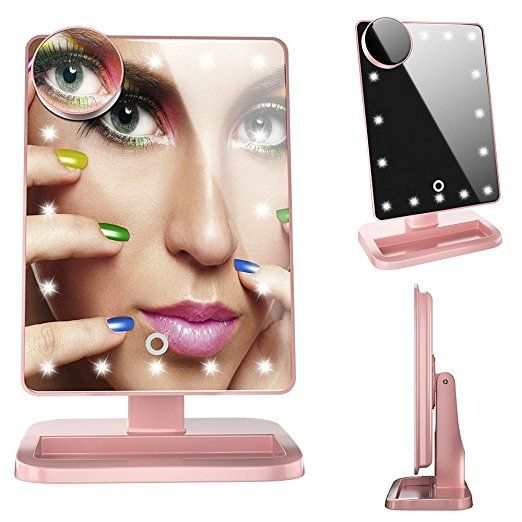 Fenchilin Natural Daylight 20 Led Makeup Mirror Cosmetic Mirror With Touch Screen Dimming High Definition Clari With Images Cosmetic Mirror Makeup Mirrors Makeup Mirror