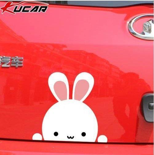 2013 hot sales pink rabbit hiding back of car door sticker cartoon car sticker for car door full body car accessories decorate $12.80