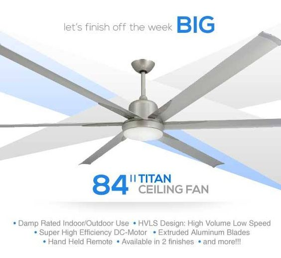 Clean contemporary design large industrial ceiling fan with high clean contemporary design large industrial ceiling fan with high efficiency dc motor extruded aluminum blades integrated light and remote damp r aloadofball Gallery