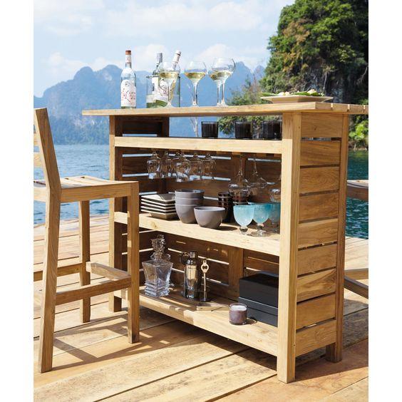Barra para exterior de teca cadaques barras for Barras en madera para bar