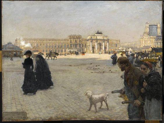 La Place du Carrousel : ruines des Tuileries en 1882 Nittis Giuseppe de (1846-1884) Paris, musée du Louvre: