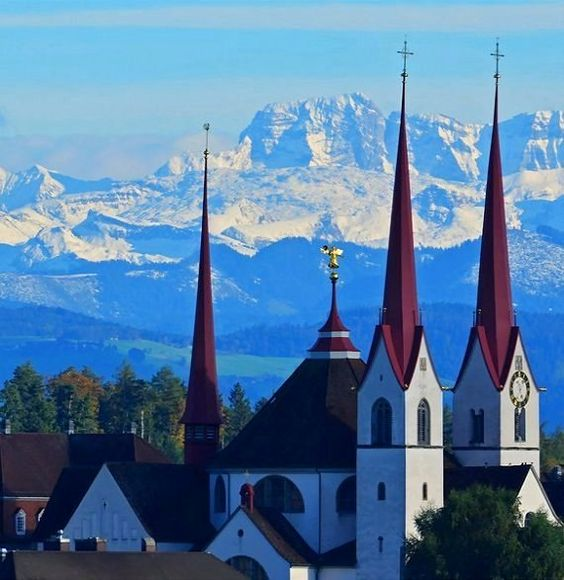 The Abbey Church of Muri monastery. In the background the Alps, Switzerland | by Josi Winiger