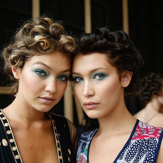 Gigi & Bella Hadid backstage - Diane von Furstenberg's Spring 2016 - makeup Pat McGrath