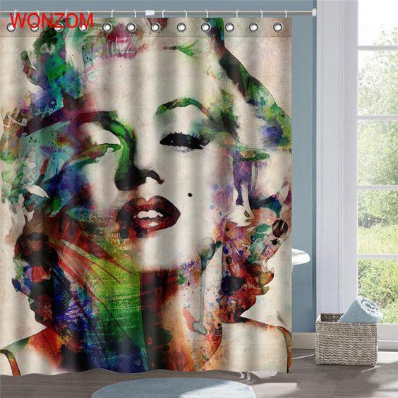 Wonzom Marilyn Monroe Polyester Fabric Mermaid Shower Curtain
