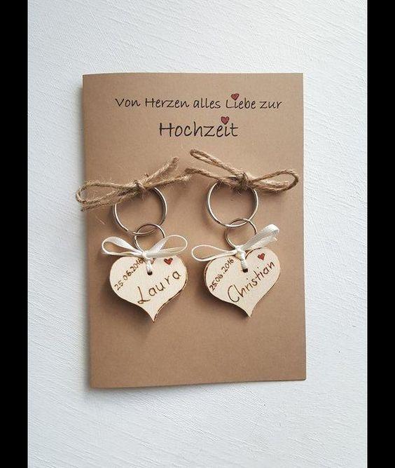 Glückwunschkarte zur Hochzeit, Schlüsselanhänger