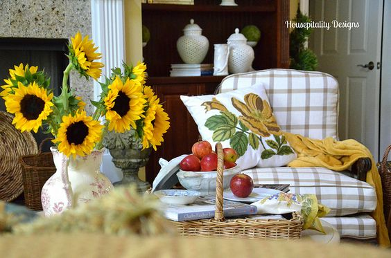 Sunflowers to transition between summer and fall decor--Housepitality Designs